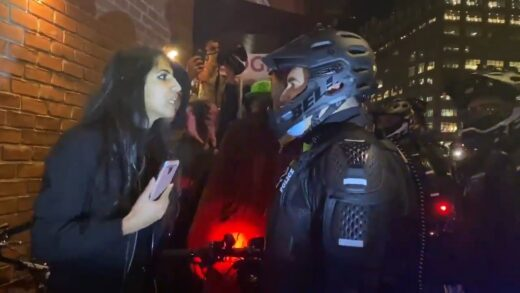 Instant karma for Antifa cry baby who spits a cop in the kisser.