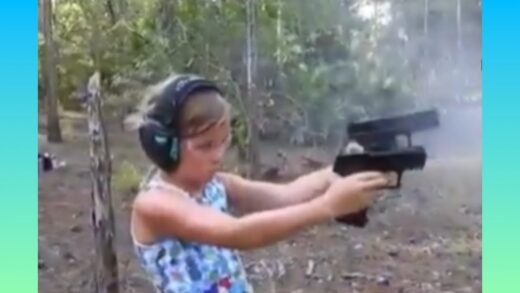 Little girl shows off her dual wielding shooting skills. ?