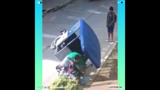 Stupid Punk driving a tricycle tries to steal a phone and crashes.