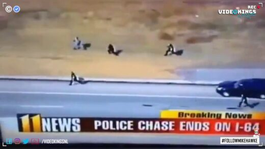 Super Cop tackles escaping suspect after epic sprint.